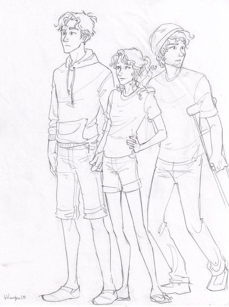 percy, annabeth, and grover, drawn by burdge ♥