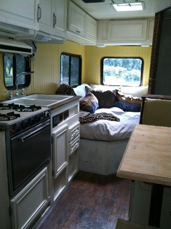 Our 1st Remodel! Class C motorhome (RV) remodel. Pottery Barn look.
