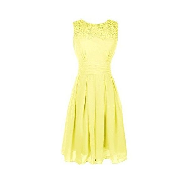Ouman Short Prom Dress Bridesmaid Gowns with Appliques Neckline ❤ liked on Polyvore featuring dresses, gowns, short dresses, short evening dresses, yellow evening gowns, yellow ball gown and yellow prom dresses