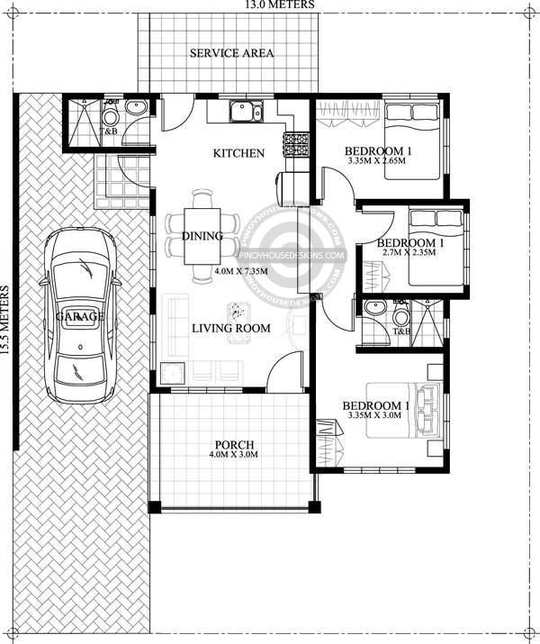 Dominic Is A One Story House Plan With A Floor Area Of 100 M That Can Be Built In 202 M 13 Simple House Design Bungalow Floor Plans Small House Floor Plans