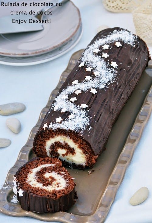 Coconut Chocolate Roll Cake