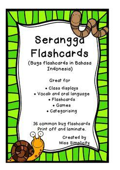 Serangga Flashcards (Bugs Insects Minibeasts flashcards in Bahasa Indonesia)