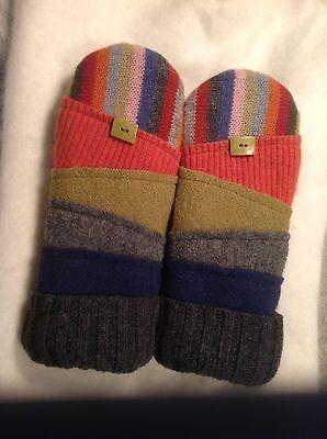 "Upcycled wool sweater mittens handmade "" mitten art"""