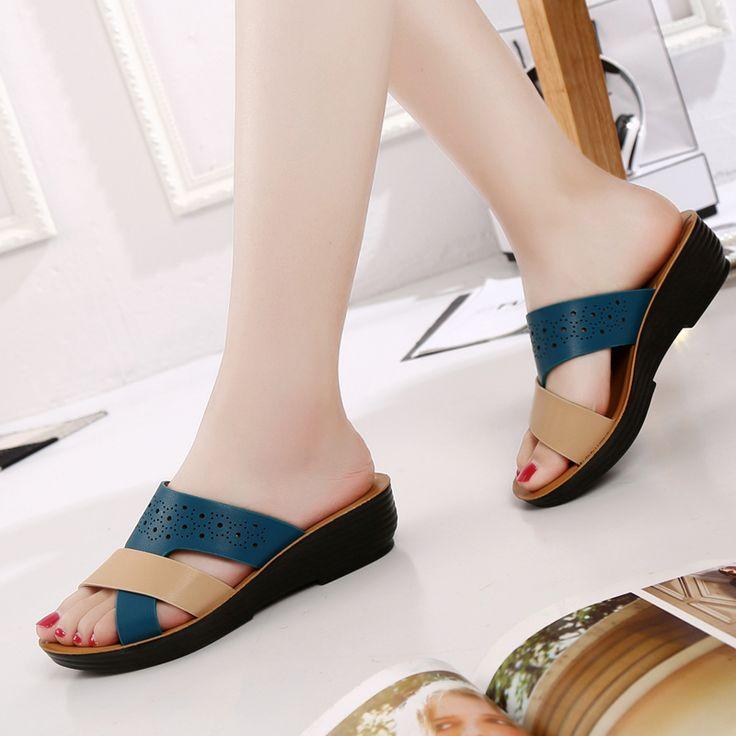 ZZPOHE 2017 zapatillas de moda de Verano nueva mamá de mediana edad pendiente playa zapatillas antideslizantes de las mujeres inferiores suaves cómodos zapatos de las señoras en Zapatillas de Zapatos en AliExpress.com | Alibaba Group