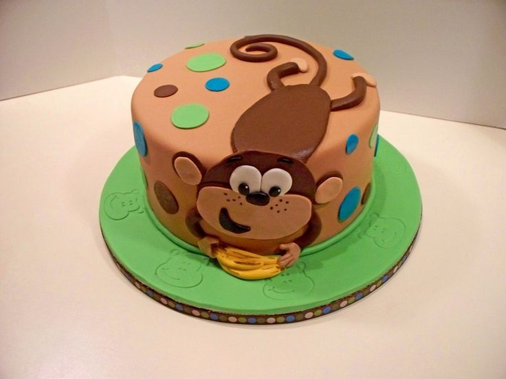 25 b sta monkey cakes id erna p pinterest for Monkey birthday cake template