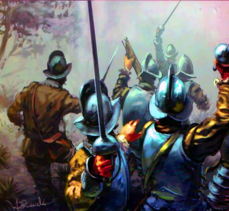 Spanish conquistadores laying an ambush for the Incas at the Battle of Cajamarca