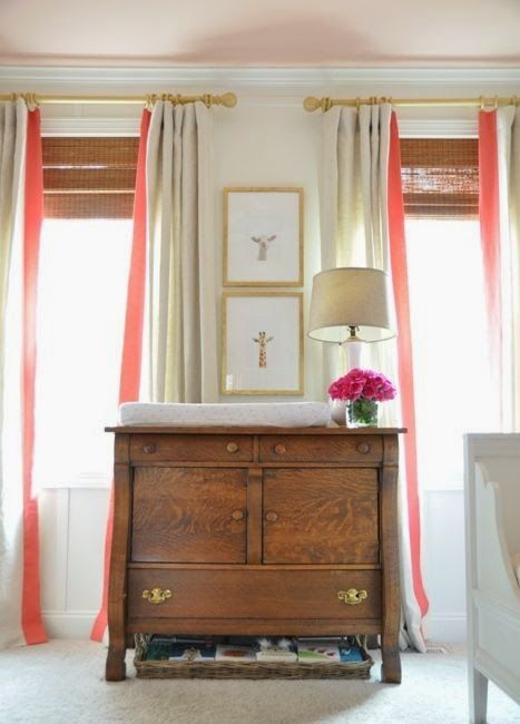 Simple Curtains w/ Colored Banding for a pop of color | 12th and White