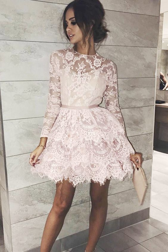 5d75938b78 A-Line Jewel Long Sleeves Above-Knee Pink Lace Homecoming Dress in ...