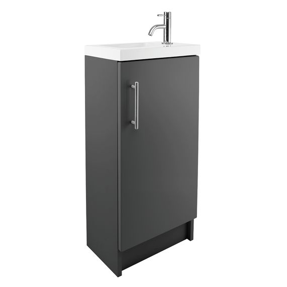 Cleveland 400 Basin And Gloss Grey Floor Standing Vanity Unit | bathstore