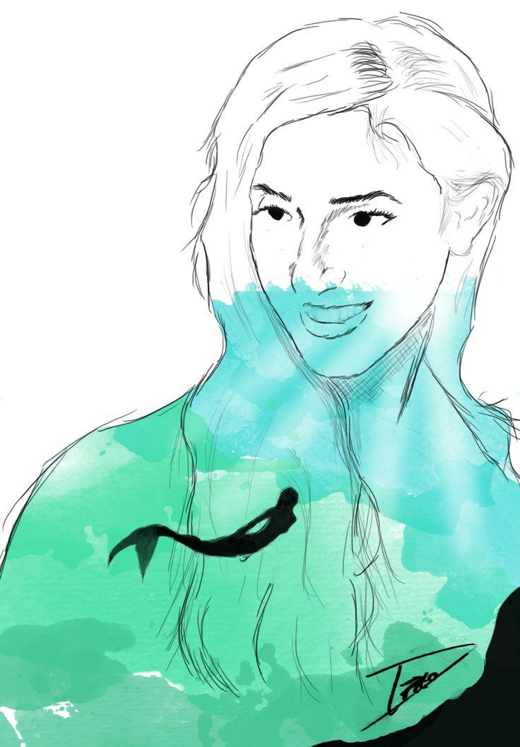 Dibujo Mujer Mar Sirena   Regalo a una emigrante a Chile =)  
