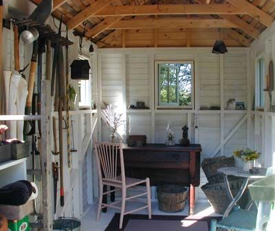 Garden shed studio: Garden Sheds, Garden Studio, Garden Shed Interiors, Backyard Garden, Backyard Studio, Gardening, White Interiors, Gardensheds
