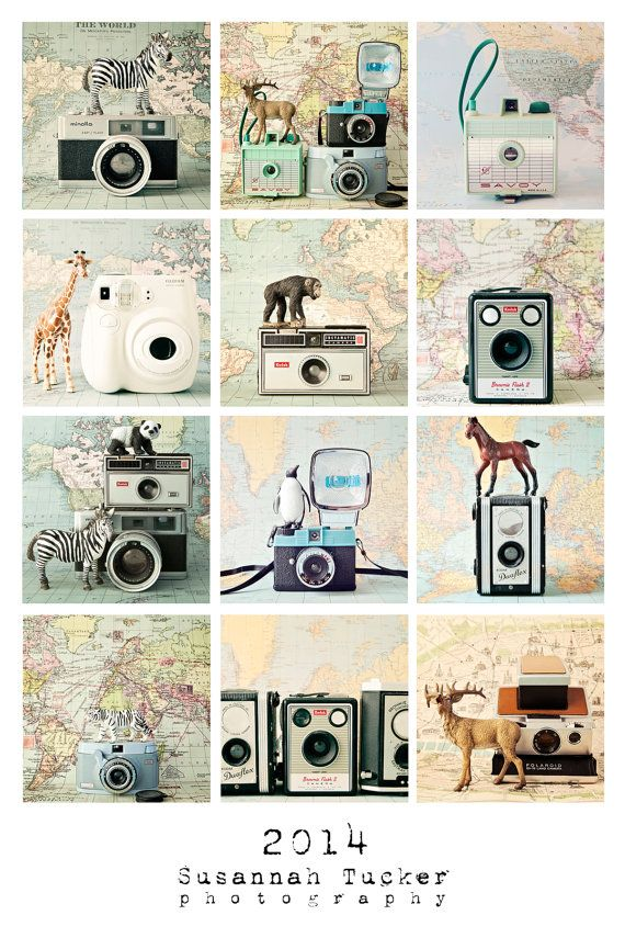 2014 calendar - The Quirky Cameras - a fun 4x6 loose leaf desk photo calendar featuring vintage cameras, maps and toy animals - I NEED THIS!