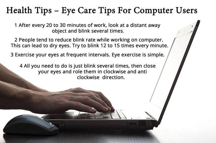 Eye care at computer