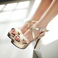 Mujer Zapatos Semicuero Primavera Verano Tacón Stiletto Hebilla para Casual Al aire libre Vestido Negro Plata Dorado