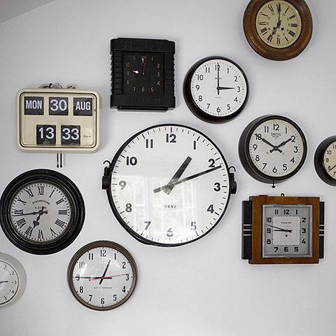 Clocks. i want a wall with multiple clocks, with all the time zones of