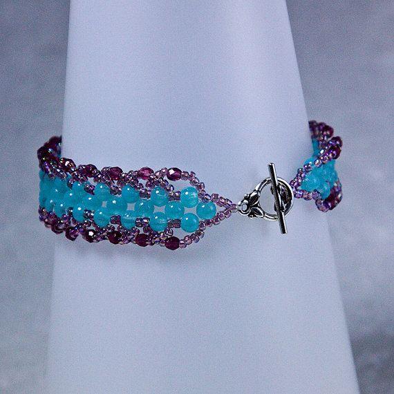 Aqua y rosa/amatista pulsera, pulsera de espiral plana, ángulo recto de la armadura pulseras, abalorios, rosa/amatista y Aqua, cierre de palanca