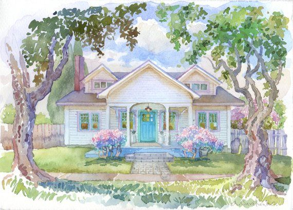 Custom Watercolor House Portrait Digital House Portrait Etsy