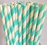 retro papieren rietjes Coral Blue