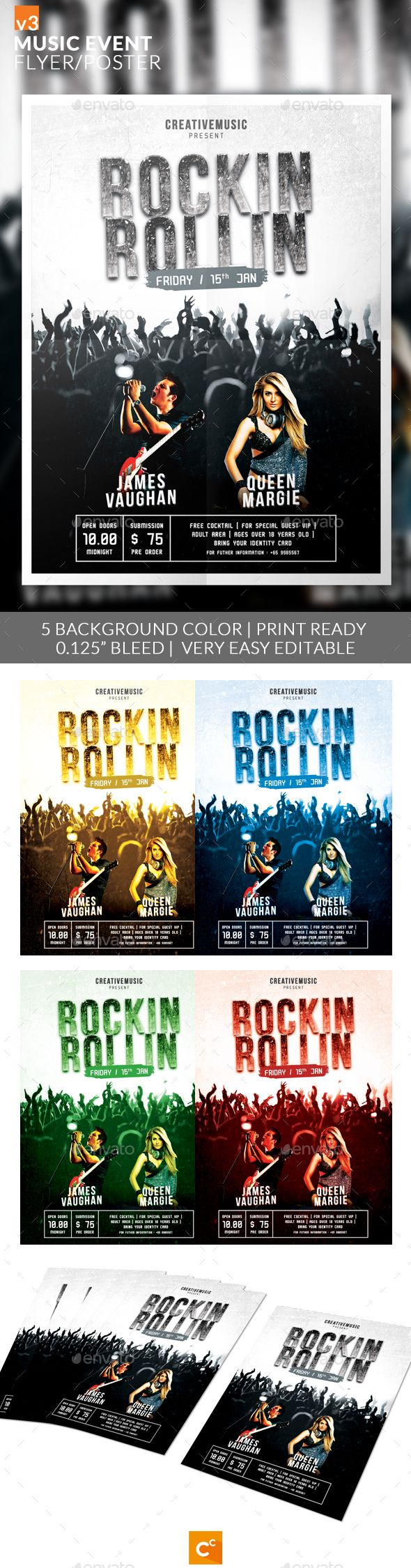Music Event Flyer/Poster v3 by CreativeComplex Music Event Flyer/Poster v3 Flyer design template made on event or music concert theme with simple contents. Features5 Background