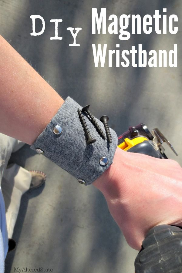 Magnetic wristband for holding loose screws while Dad works! #DIY #gift