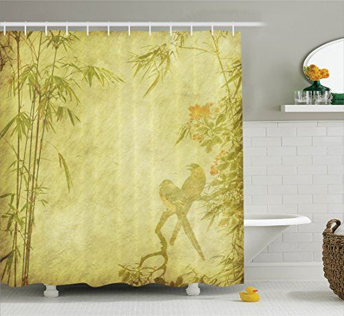 Nature Shower Curtain Bamboo House Decor By Ambesonne, Silhouettes Of Birds  On The Branch And