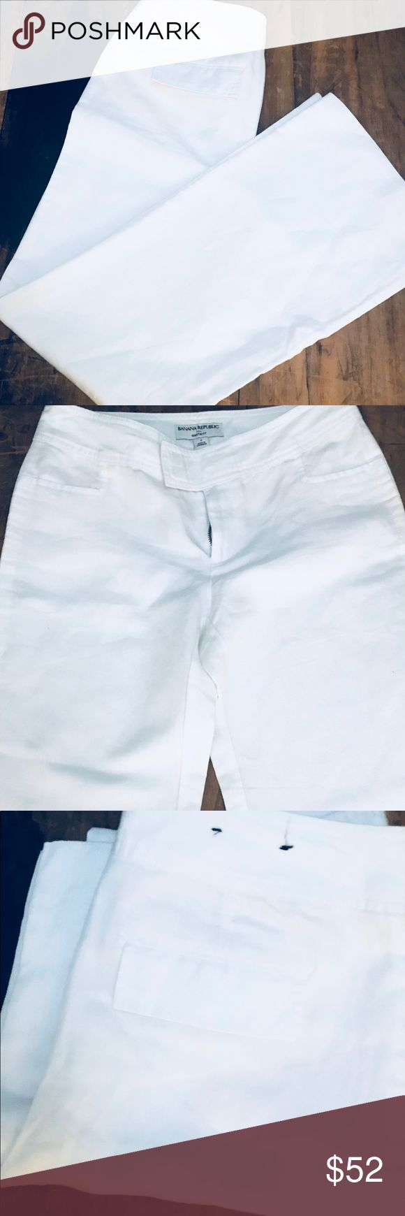"""Banana Republic Martin Fit Pants The perfect summer pants! White, wide leg and super comfy ! They look awesome with some tan sandals a sun hat and loose tank top! Inseam 31"""" size 4 NWOT Banana Republic Pants Wide Leg"""