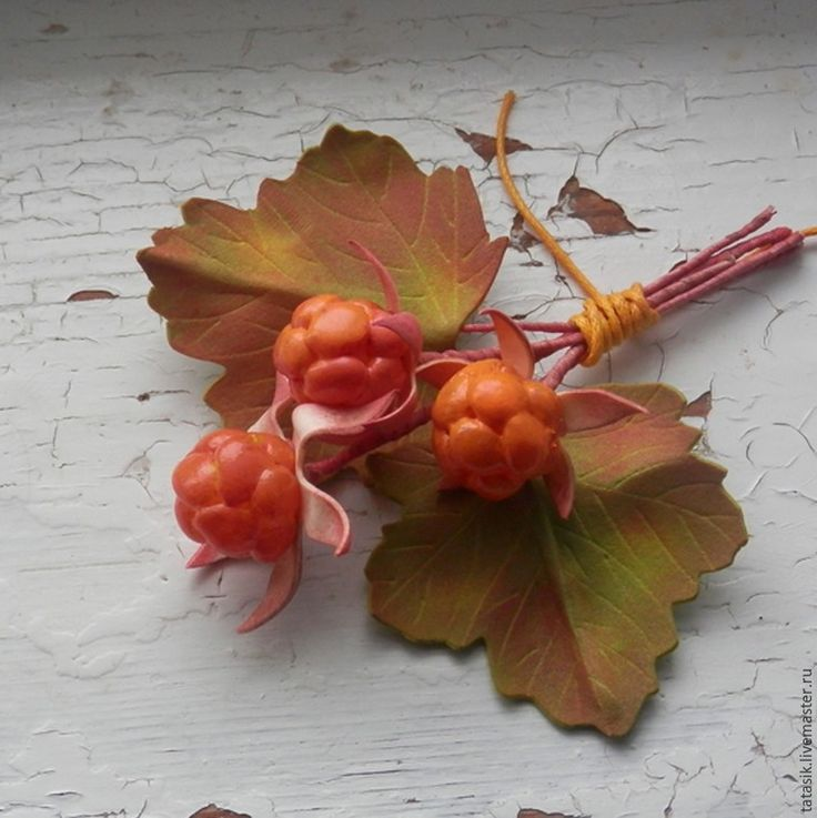 Сегодня я покажу вам не совсем обычный способ изготовления ягод. Надеюсь, что он кому-нибудь пригодится или сподвигнет на новые свершения, и таким способом вы попробуете сделать не только морошку, но и, например, малину или ежевику :) Для работы нам потребуется фоамиран оливковый и светло-персиковый, ножницы, клеевой пистолет, бусины, проволока, акриловые краски и лак, сухая пастель, влажная салфетка, утюг.
