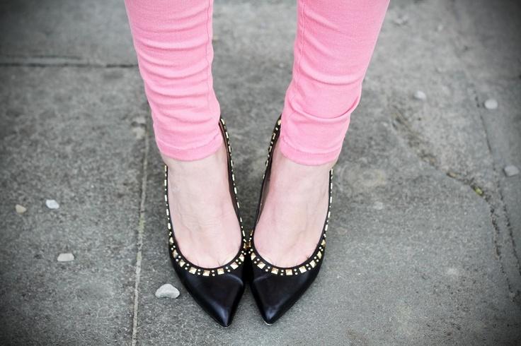 jeans perfect shape fornarina   pink black golden details prada hm fashion blogger irene's closet  www.ireneccloset.com
