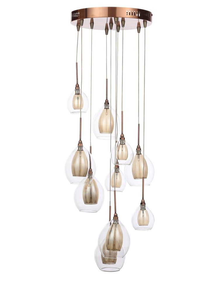 10-light Copper Cluster Ceiling Light This stunning ceiling cluster is perfect for making a contemporary statement in any home, with 10 beautifully shaped lights cascadingfrom a copper plate. The two-layer shades house beautifully bright halogen bulbs (included), with clear outer shells surrounding bronze-toned inner shades. Each one hangs from a different height, creating a stunning perception of depth that's reflected in the way it casts light around the room.Depth: 38 CMHeight: 56…
