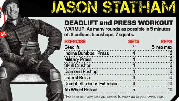 Deadlift and Press workout by Jason Statham - The Expendables
