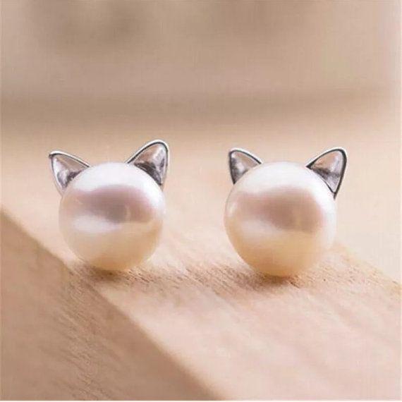 925 plata de ley perlas gato gatito pendientes del perno prisionero. Lindo animal kawaii