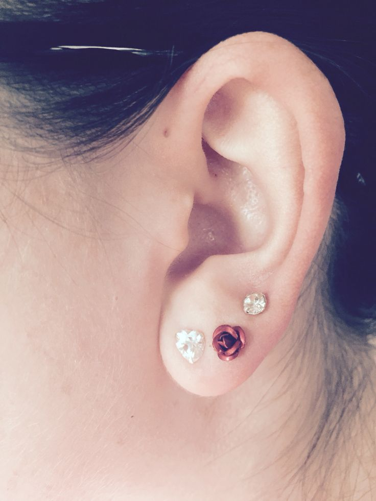 Triple Lobe Piercing With Studs And Rose