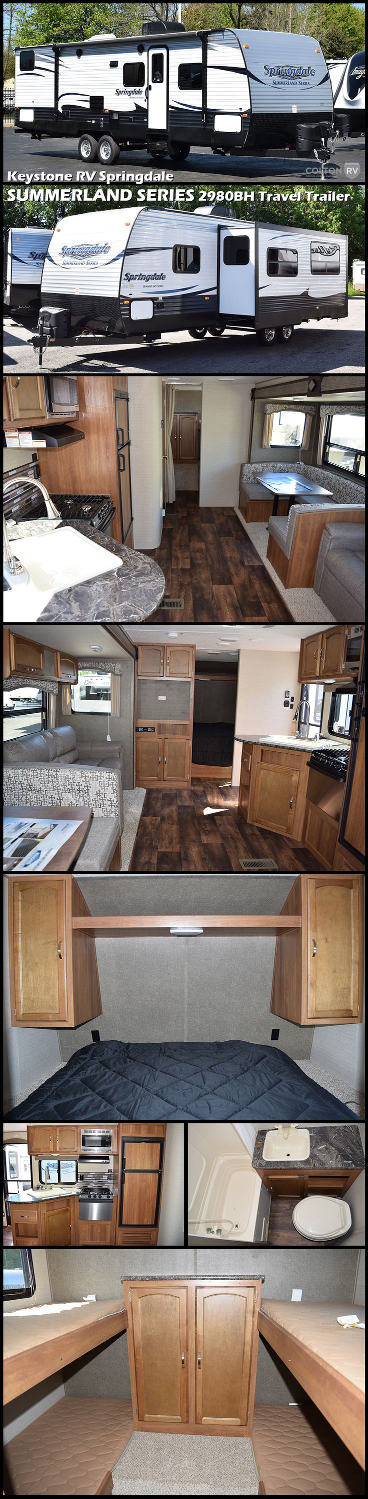 2017 KEYSTONE RV SPRINGDALE SUMMERLAND SERIES 2980BH Travel Trailer. Vacation is the dream we carry with us throughout the year. It is the escape from our day to day cares and a place where we connect with those we love. Vacation is not just a location; it is a state of mind. When you are ready for vacation, Summerland takes you there.