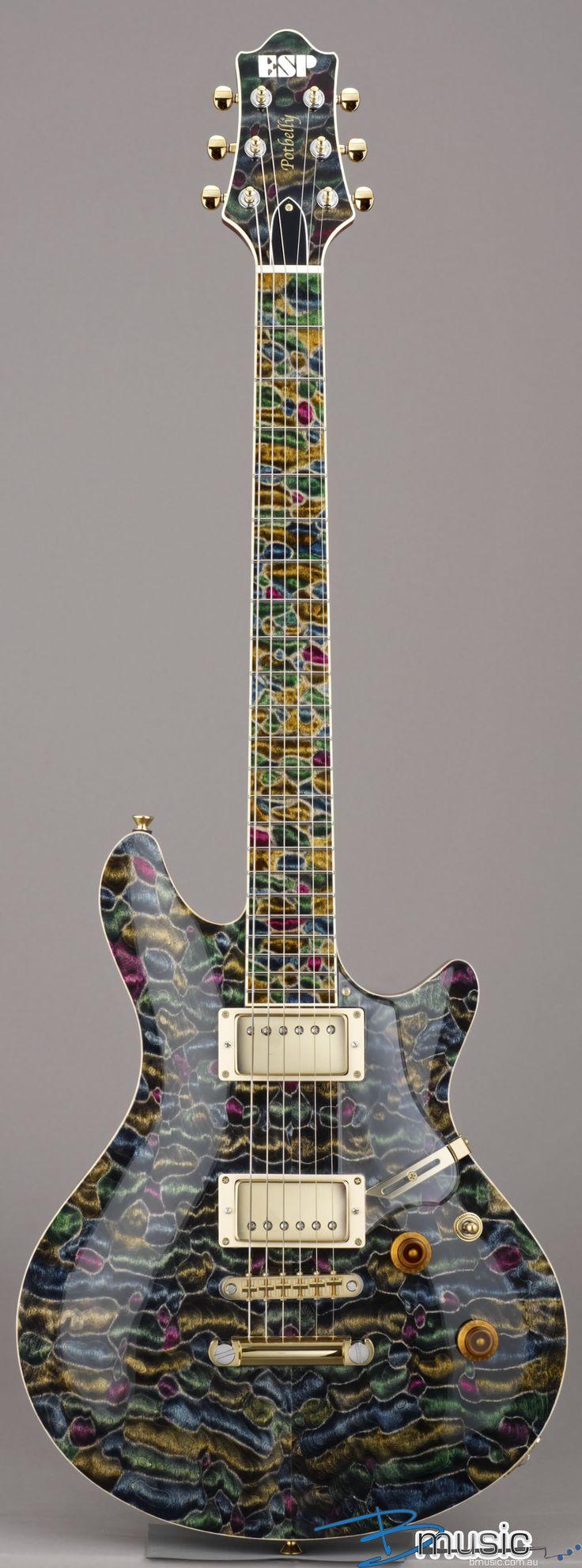 frettedchordophones:  ESP Potbelly-QM Mosaic (Love the finish) =Lardy's Chordophone of the day - a year ago --- https://www.pinterest.com/lardyfatboy/