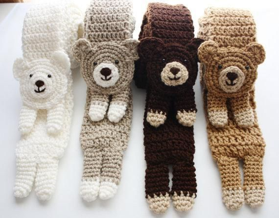 Craftsy.com: Pattern for crocheted Bear Scarves ~ Cute!