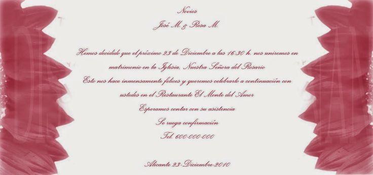 MUNDO ROSSA -TARGETAS DE BODA: tarjetas de boda -tonos rosas
