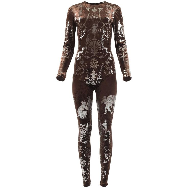 Vivienne Westwood Autumn-Winter 1990 brown screen printed silver jumpsuit   From a collection of rare vintage suits, outfits and ensembles at https://www.1stdibs.com/fashion/clothing/suits-outfits-ensembles/