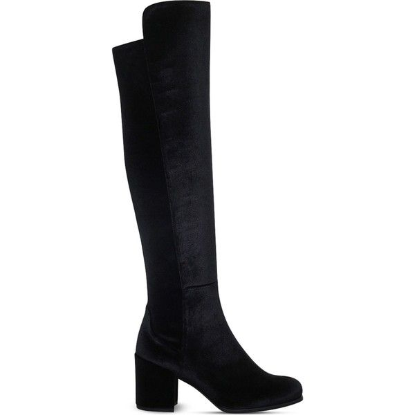 STUART WEITZMAN 50/50 velvet knee-high boots ($940) ❤ liked on Polyvore featuring shoes, boots, heels, knee heel boots, high heeled footwear, over-knee boots, block heel boots and velvet knee high boots