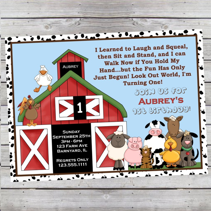 Barnyard 1st Birthday or Any Age With or Without Photo Digital File OR 5x7 Prints FRONT & BACK. $14.99, via Etsy.