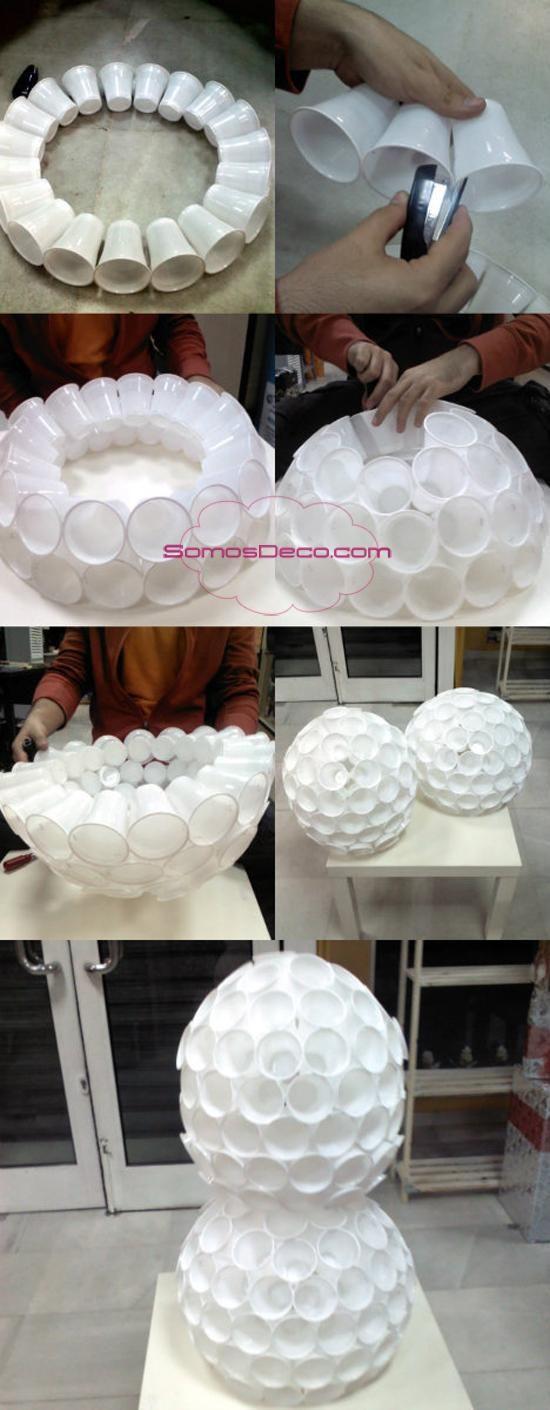 Muñeco de nieve hecho con vasos descartables | Manualidades de hogar