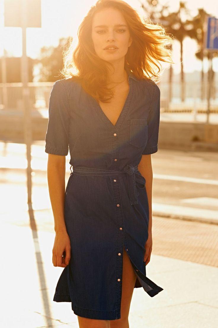 Blouse jurk in denim look Donker blauw