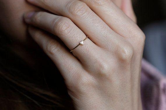 Trillion Diamond Ring Diamond Engagement Ring by MinimalVS on Etsy, $349.00