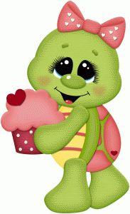 Silhouette Design Store - View Design #74708: valentine girl turtle w cupcake