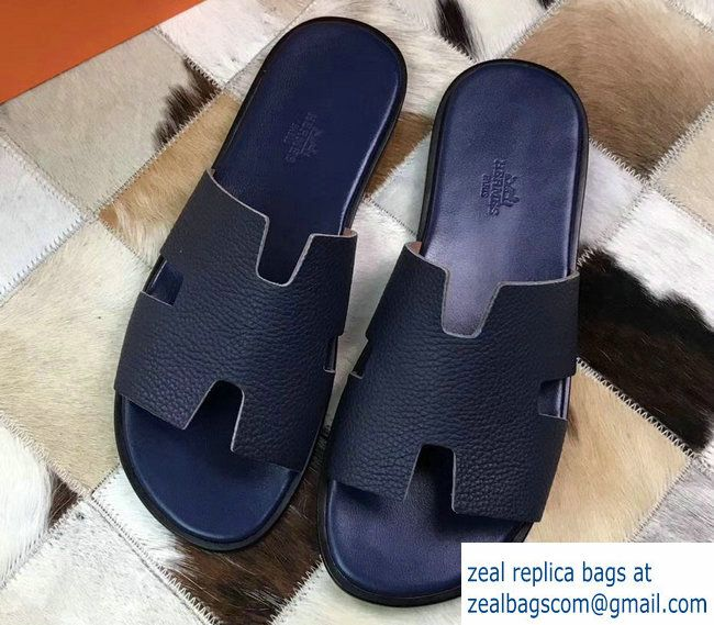 Hermes Izmir Men S Slipper Sandals In Togo Calfskin Navy Blue