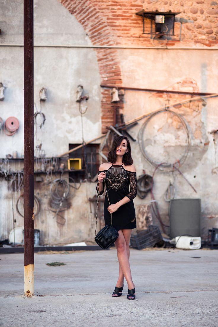 anouska wearing three floor LBD in verona toolshed