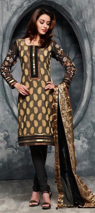 97439: Black and Grey color family stitched Cotton Salwar Kameez.