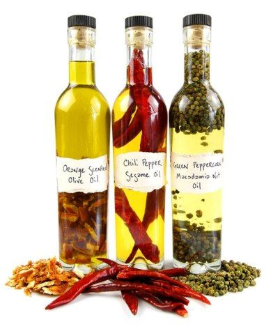 How To Make Herb Infused Oils - use in one jar rosemary, dried chilli, pepercorns, cinnamon sticks