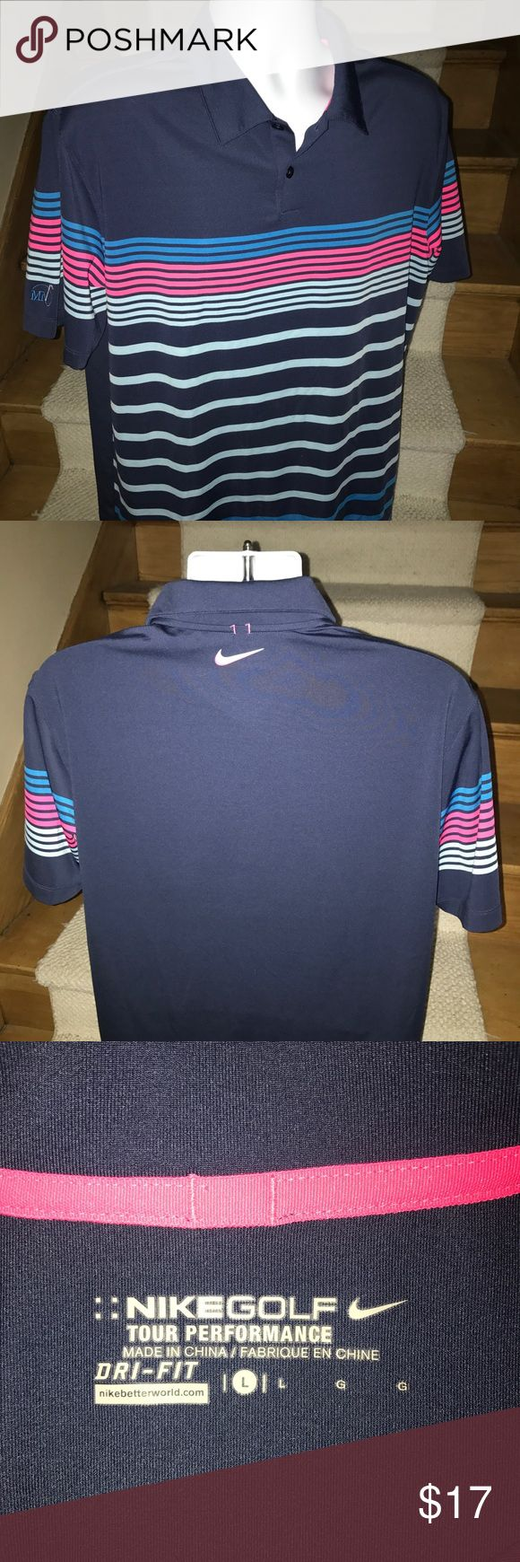 Nike Golf Tour Performance like new polo shirt - L Stunning men's Nike Golf Tour Performance moisture wicking casual golf polo shirt that is sized large.  Perfect like new condition.  Nike Swoosh logo on top of the back - small golf resort logo on sleeve.  Incredible style and quality. Nike Shirts Polos
