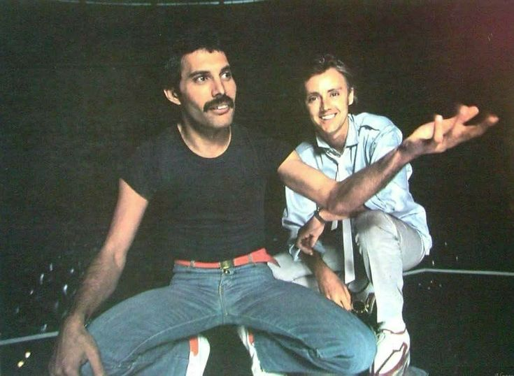 Freddie Mercury and Roger Taylor before Queen's show at the Oakland Coliseum Arena,  Oakland, CA, USA. July 13, 1980.