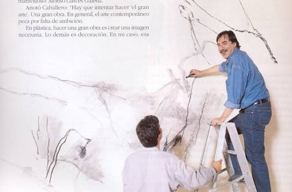 Luis Caballero (1943-1995) Colombian painter and draftsman drawing a mural.